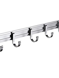 Wall Mount Towel Hook Rail/Coat Rack with 5 Flared Top Hooks, Aluminum