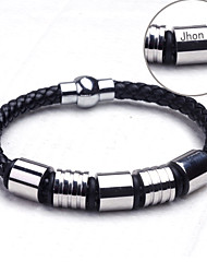 Jóias Personalizadas prata/preto - Braceletes - de Aço Inoxidável/Couro