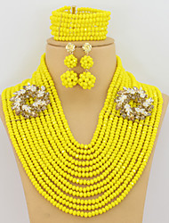 African Nigerian Crystal Beads Jewelry Set Bride Gift Fashion Jewelry Set Classic Design
