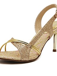 Women's Shoes Leather Stiletto Heel Slingback Sandals Party Gold