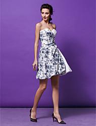 robe de cocktail de retour - imprimer une ligne / princesse chérie court / mini en satin
