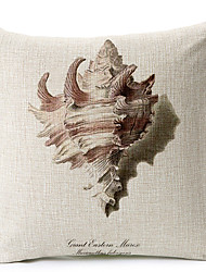 Modern Style White Shell Patterned Cotton/Linen Decorative Pillow Cover