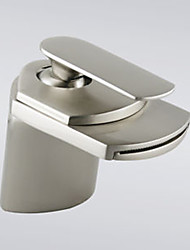 Brass Modern Single Handle Short Brush Nickel Faucet for Sink
