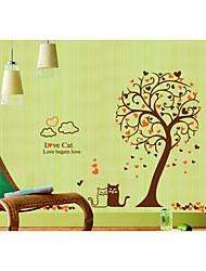 parede adesivos de parede decalques, estilo de árvore preto e branco dos desenhos animados gato parede pvc adesivos