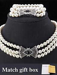 InStyle Luxury Big Pearl Beads Necklace Bracelet Set SWA Rhinestone for women High Quality match Gift Box