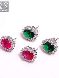AS 925 Silver Jewelry  Eight heart eight arrow match color Dan shaped Stone Earrings