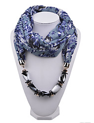 D Exceed  Women Scarf Necklace Personality Grey Floral Printing Chiffon Wraps with Resin Gemstone Beads Pendant Scarves