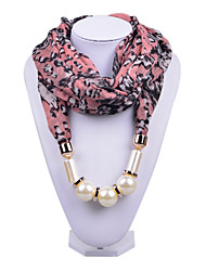 D Exceed  Women Scarf Necklace Personality Grey Floral Printing Chiffon Wraps with Pearl Beads Pendant Scarves