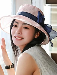 Women Vintage/Cute/Casual All Seasons Bow Canvas Floppy Hat