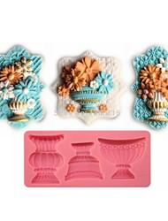 fondant bolo em forma de chocolate do molde de silicone vaso de flor clássico, ferramentas de decoração cupcake, l12.8cm * * w5.9cm h1.2cm