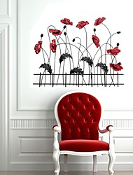E-HOME® Metal Wall Art Wall Decor, The Red Flowers Wall Decor One PCS