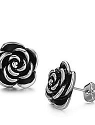 Women's Fashion Titanium Steel Black Flower Earrings
