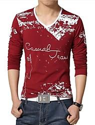 Herren T-shirt-Druck Freizeit / Übergröße Baumwolle / Polyester Lang-Blau / Rot / Weiß / Grau