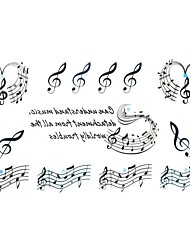 5Pcs  Waterproof  The Symbol Of Music Pattern Tattoo Stickers