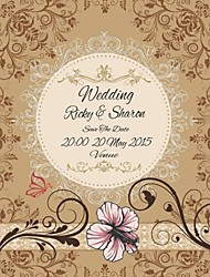 Personalized 50pcs/Set 15cm x 12.5cm  Wedding Invitations Flower Pattern Save The Date Paper Card