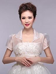 boda envuelve boleros de encaje de manga corta bolero blanco encogimiento