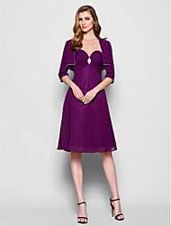Lanting A-line Plus Sizes / Petite Mother of the Bride Dress - Grape Knee-length 3/4 Length Sleeve Chiffon