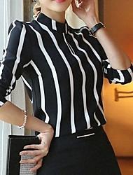 Women's Vintage Casual Micro Elastic Long Sleeve Regular Blouse