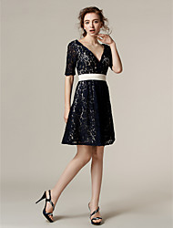 Lanting Bride® Knee-length Lace Bridesmaid Dress - A-line V-neck Plus Size / Petite with Sash / Ribbon