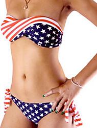 Muairen® Women'S  American Flag Patterned Bikini Swimwear In Europe And America