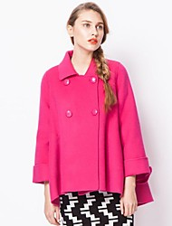 Women's Pink/Yellow Coat Long Sleeve Wool