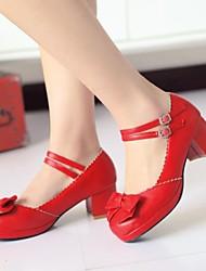 Chaussures Femme - Habillé - Noir / Violet / Rouge - Gros Talon - Talons / A Plateau / Bout Arrondi / Bride de Cheville - Talons -