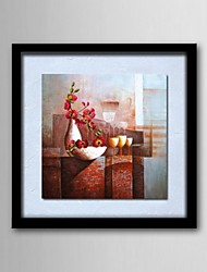 Oil Painting Abstract Still Life of Flowers Hand Painted Canvas Solid Wood Frame Frameless Paintings