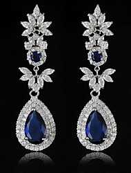 New Fashion Temperament Long Flowers Row Set Auger Zircon Earrings Wedding Party Earrin (More Colors)