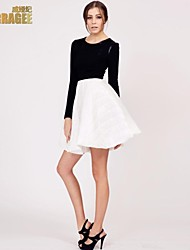 Verragee® High-end Big Long-sleeved Dress tutu Skirt Large Size Women Bottoming Sun