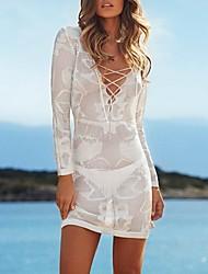 Women's Fashion Deep V Cross Hollow knitted Swimsuit Swimwear Bikini Dress Beach Cover Up