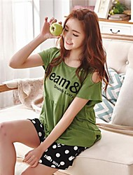 Women's Elastic Knitted Cotton Short Sleeve And Comfortable Leisure Wear Suits