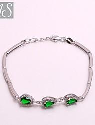 AS 925 Silver Jewelry  Eight heart eight arrows of Green Stone Bracelet