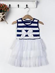 Girl's Kids Stripe Net Yarn Bubble Ball Gown Dress