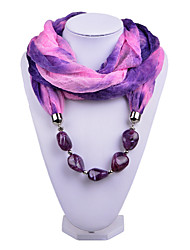 D Exceed   Women Match Infinity Ring Fashion Scarf with Purple Irregular Brush Painting Beads Pendant Scarfs