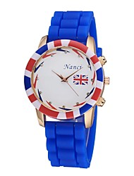 Women's Men's Quartz Analog Cartoon Silicone Strap Fashion Jelly Quartz Sports Watch UK Flag Pattern Cool Watches Unique Watches