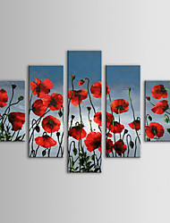 IARTS Oil Painting Modern Floral Red Flowers Wall Hanging Set of 5 Hand Painted Canvas with Stretched Frame