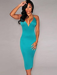 Women's Sexy/Bodycon Stretchy Sleeveless Midi Dress