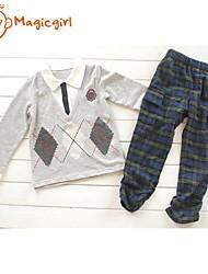 Boy's Spring Autumn Long Sleeve Turn-down Collar Shirts + Tie + Plaid Coat Design Top + Plaid Pants Twinsets (Cotton)