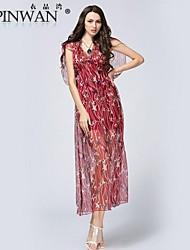 yipinwan ® lotus folha oca das mulheres realmente vestido estampado de seda amoreira