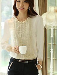 Women's Casual Lace Micro Elastic Long Sleeve Short Blouse