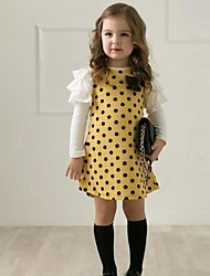Girl's Spring/Fall Dots Bow Tiered Ruffle Sleeves Fashion Dresses