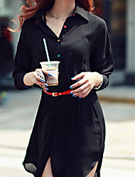 Women's Casual/Work Stand Long Sleeve Dresses (Chiffon)