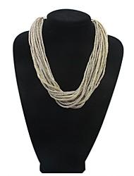 Women EU&US Fashion Alloy Strings Weaved Bib Statement Necklace