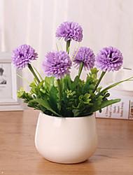hyfrangeas mauves artificiels fleurs avec vase