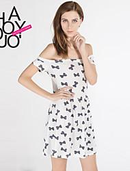 Women's White Dress , Casual/Print Short Sleeve