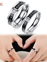 OPK®2PC AAA Zirconium Drill Expression of Love, Symbol of Eternal Love Stainless Steel Couple Rings