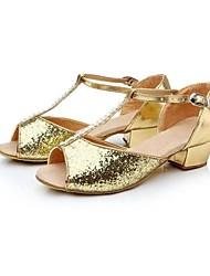 Non Customizable Women's/Kids' Dance Shoes Latin Paillette Chunky Heel(More Colors)