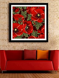 E-HOME® Framed Canvas Art,The Red Flowers Framed Canvas Print