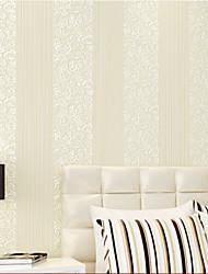 fond d'écran contemporaine fleur floral et la combinaison rayée crémeuse mur de couleur blanche couvrant l'art non-tissé mur de papier