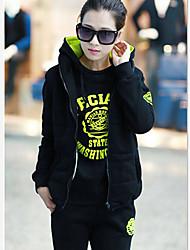 Jojo Women's Korean Causal Sports Thickening Plus Velvet Large Yard Hoodie Suit Three-piece Suit